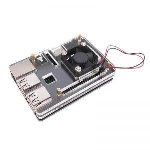 Boitier pour Raspberry Pi 3 avec ventilateur Noir - Transparent